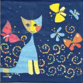 Χαρτοπετσέτα για Decoupage, Cats with Butterflies / 2572-6492-42