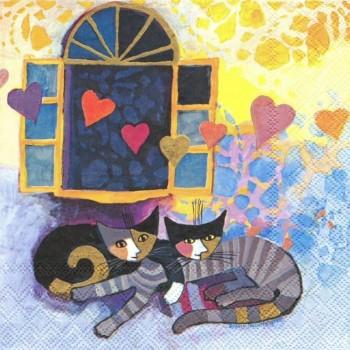 Χαρτοπετσέτα για Decoupage, Cat R.W. Flying Hearts / 2572-7459-30