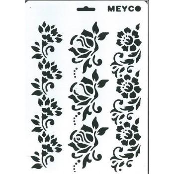 Στένσιλ (Stencil) Meyco Α4, Λουλούδια Μπορντούρες