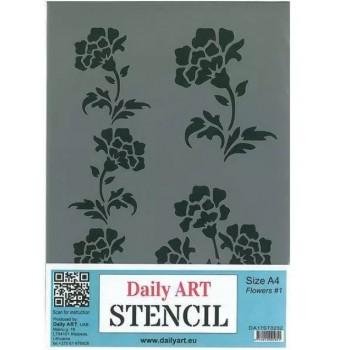 Στένσιλ (Stencil) DailyArt  μέγεθος A4, Flowers / DA17ST0232