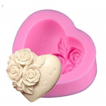 Καλούπι Σιλικόνης 7x6,8x3,1cm, Καρδιά / Τριαντάφυλλα