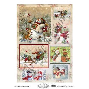 Χριστουγεννιάτικο Ριζόχαρτο Artistic Design για Decoupage 30x40cm, Christmas Snowmen / MR006