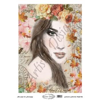 Ριζόχαρτο Artistic Design για Decoupage 30x40cm, Portrait (Πρόσωπο Γυναίκας)  / MR016
