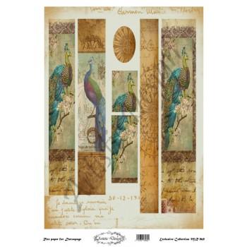 Ριζόχαρτο Artistic Design για Decoupage 30x40cm, Λαμπάδα peacocks / MR969