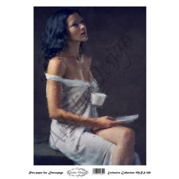 Ριζόχαρτο Artistic Design για Decoupage A4, woman with coffee / MRS310