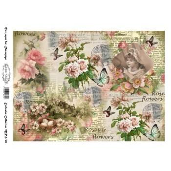 Ριζόχαρτο Artistic Design για Decoupage A4, vintage flowers / MRS311