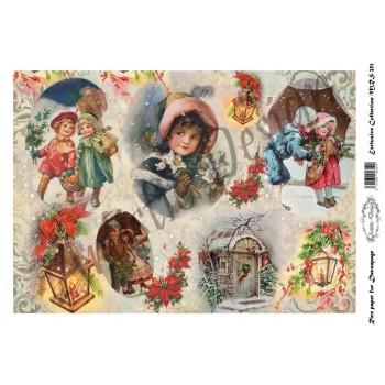 Χριστουγεννιάτικο Ριζόχαρτο Artistic Design για Decoupage Α4, Christmas Vintage Kids & Lanterns / MRS351
