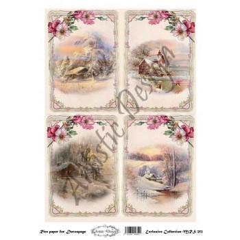 Χριστουγεννιάτικο Ριζόχαρτο Artistic Design για Decoupage Α4, Christmas Landscapes (Τοπία) / MRS352