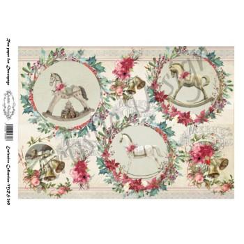 Χριστουγεννιάτικο Ριζόχαρτο Artistic Design για Decoupage Α4, Christmas Rocking Horses / MRS360