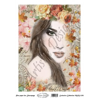 Ριζόχαρτο Artistic Design για Decoupage A4, Portrait (Πρόσωπο Γυναίκας) / MRS370