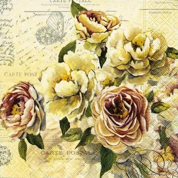 Χαρτοπετσέτα για Decoupage, Vintage Roses / PD-200258