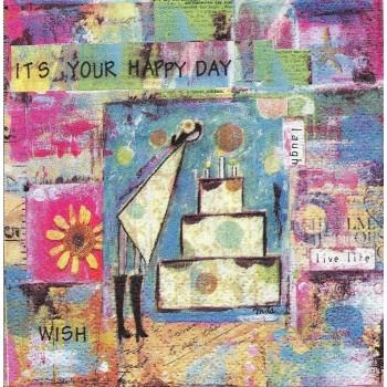 Χαρτοπετσέτα για Decoupage, Happy Day 25x25cm / 007367