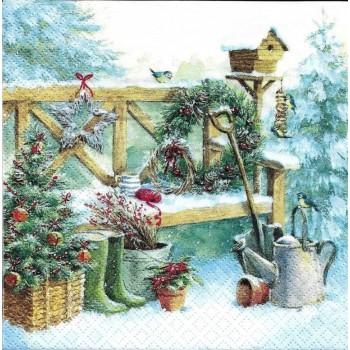 Χριστουγιεννιάτικη Χαρτοπετσέτα για Decoupage, Winter Gardening / 310450