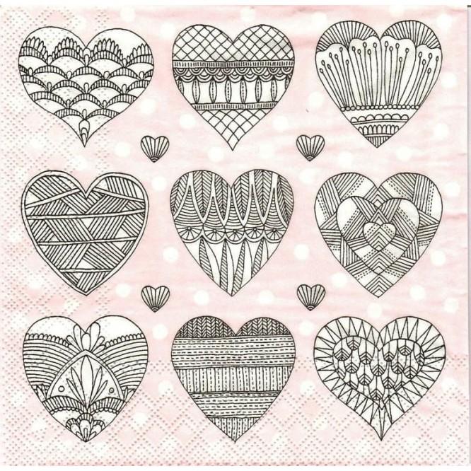 Χαρτοπετσέτα για Decoupage, Hearts Romy / 2572-6745-26