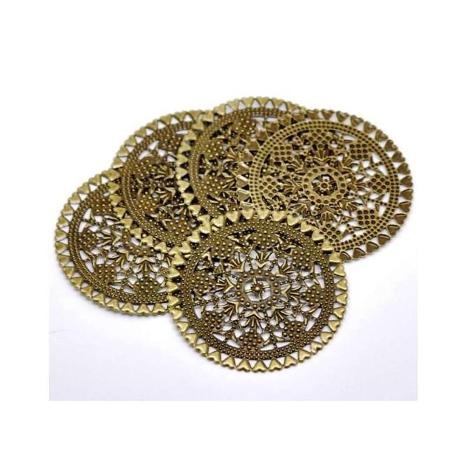 Antique Bronze Filigree Round Wraps 6cm