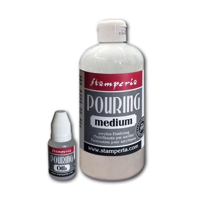 Pouring Kit: 500 ml Medium + 20 ml Λάδι, Stamperia (fluid painting / υγρή ζωγραφική)