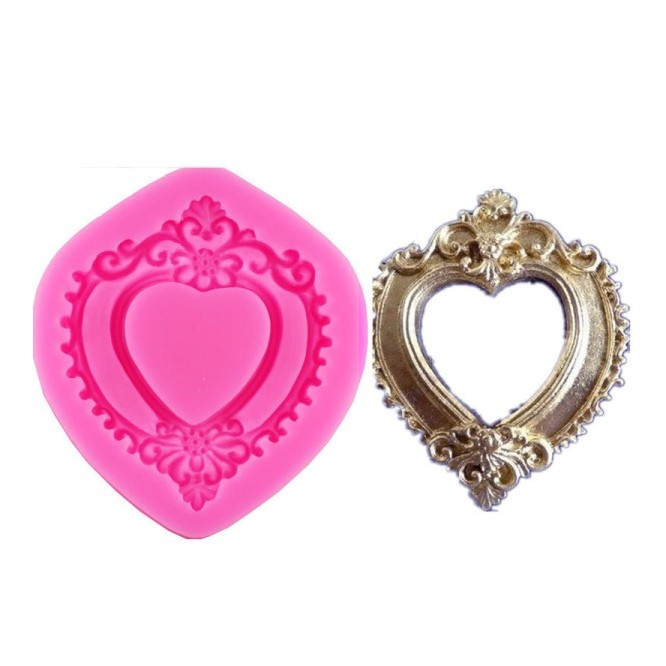 Καλούπι Σιλικόνης 8.6 x 6.5 x 1cm, 3D Heart Mirror Frame