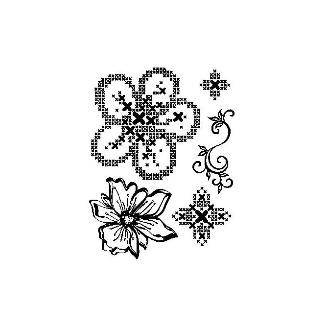 Σφραγίδα Σιλικόνης (14 x 18cm) - Cross Stich Flowers