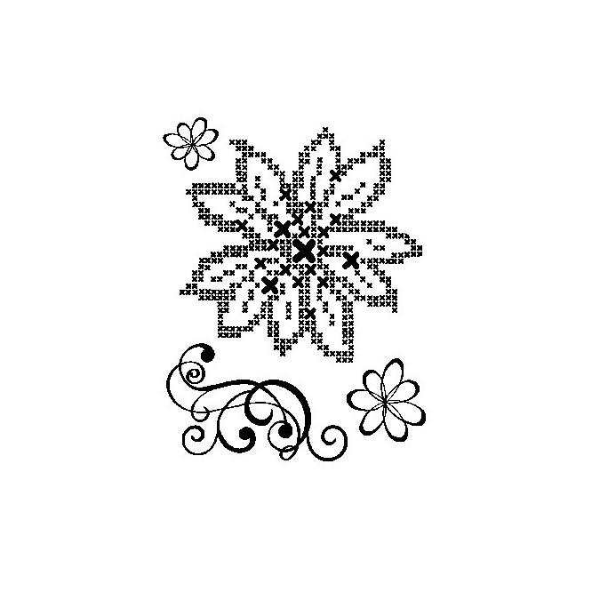 Σφραγίδα Σιλικόνης (14 x 18cm) - Cross Stich Flower + Embellishment