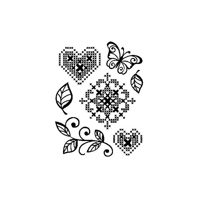 Σφραγίδα Σιλικόνης (14 x 18cm) - Cross Stich Heart