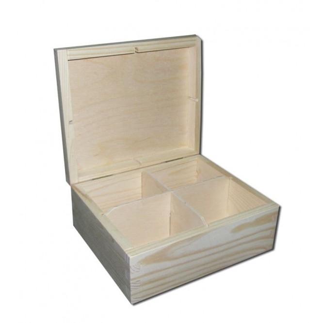 Ξύλινο Κουτί Με 4 Θήκες, 16,5x16,5x8cm