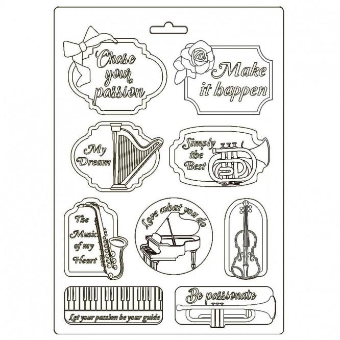 Καλούπι Soft Maxi Mould A4 Stamperia, Passion music and tag / K3PTA492