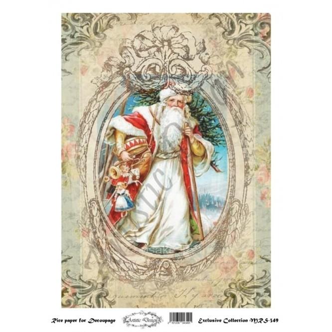 Χριστουγεννιάτικο Ριζόχαρτο Artistic Design για Decoupage Α4, Christmas Vintage Santa/ MRS349