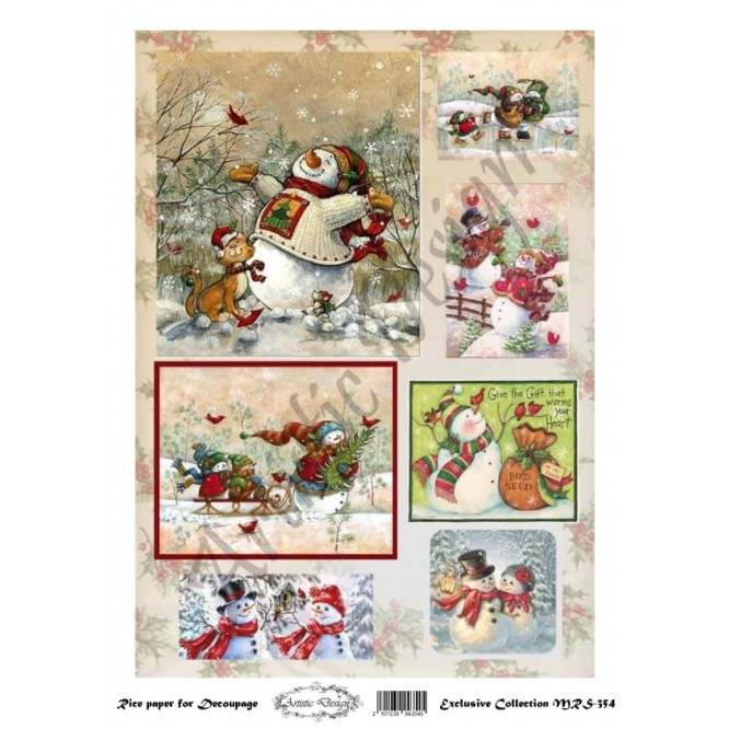 Χριστουγεννιάτικο Ριζόχαρτο Artistic Design για Decoupage Α4, Christmas Snowmen / MRS354