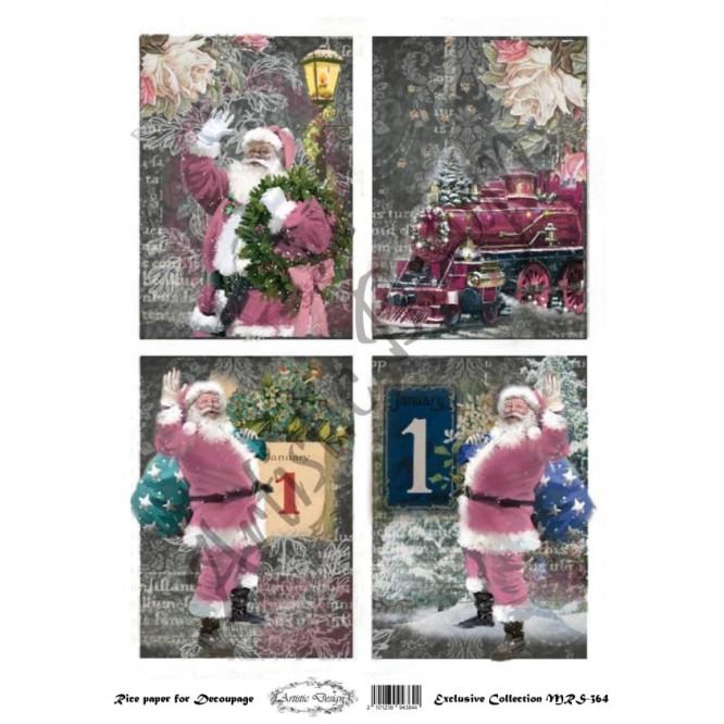 Χριστουγεννιάτικο Ριζόχαρτο Artistic Design για Decoupage Α4, Christmas Vintage Santas / MRS364