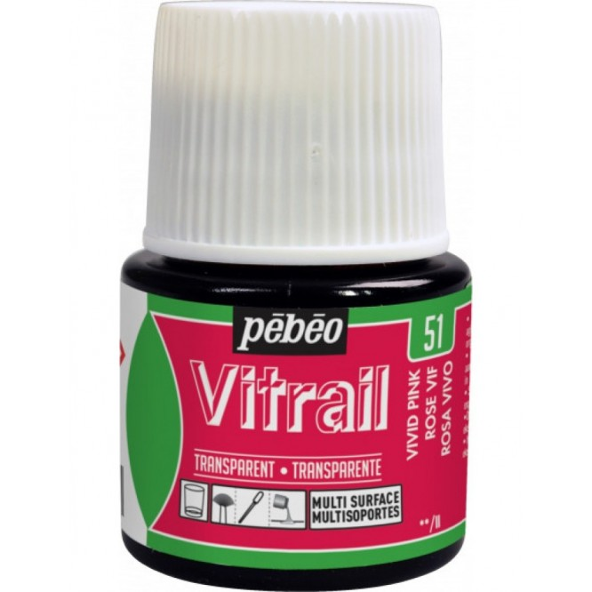 Vitrail Trasparent Colour (Διάφανo σμάλτo διαλύτη) 45ml, Vivid Pink