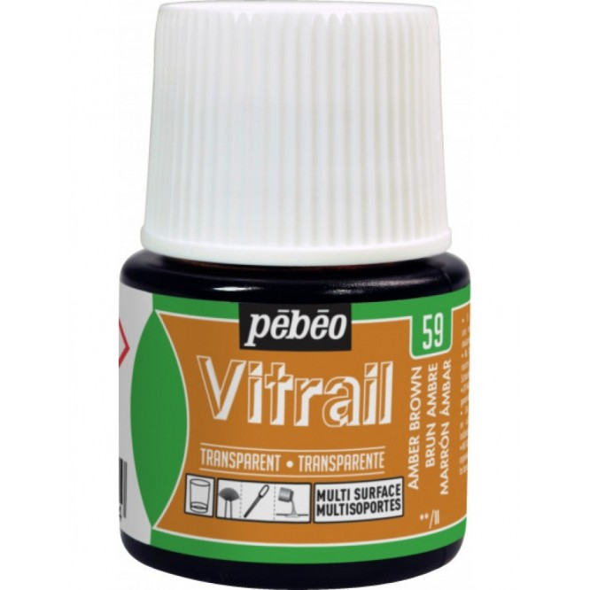 Pebeo Vitrail Trasparent Colour (Διάφανo σμάλτo διαλύτη) 45ml, Umber Brown