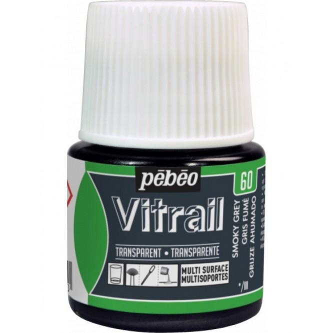 Pebeo Vitrail Trasparent Colour (Διάφανo σμάλτo διαλύτη) 45ml, Smoky Grey