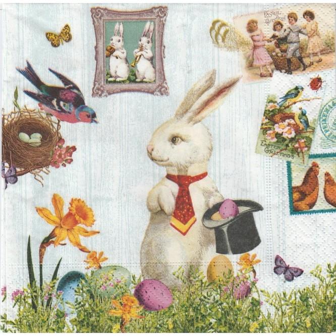 Πασχαλινή Χαρτοπετσέτα για Decoupage, Magic Easter Rabbit / PD-200002