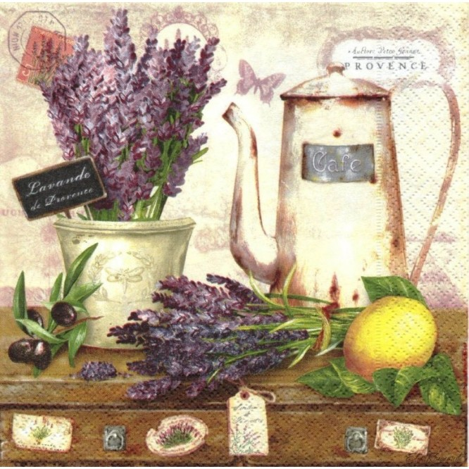 Χαρτοπετσέτα για Decoupage, Shabby Lavender / 414-LADE
