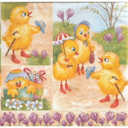 Πασχαλινή Χαρτοπετσέτα για Decoupage, Easter Chicken / SDWL-002701