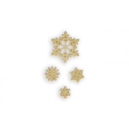 Ξυλόγλυπτο Χιονονιφάδες 3x0cm (σετ 4 τεμαχίων)