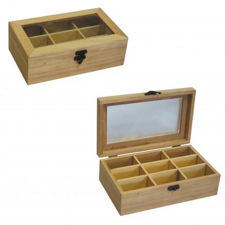 Ξύλινο Κουτί οργάνωσης 9 θέσεων 12x20x7cm