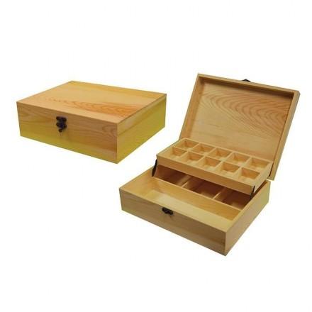 Ξύλινο Κουτί με 2 επίπεδα και θήκες 22x28x9cm / 24175