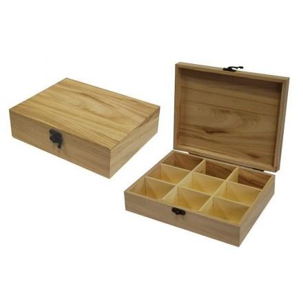 Ξύλινο Κουτί με 9 χωρίσματα 23.5x19x6.5cm / 24177