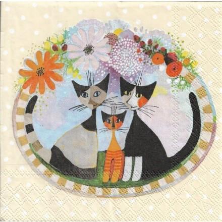 Χαρτοπετσέτα για Decoupage, Cats Family / 2572-6490-26