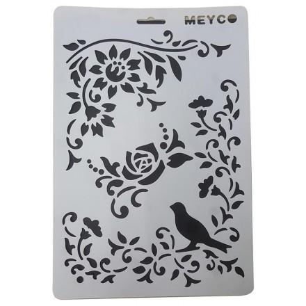 Στένσιλ (Stencil) Meyco Α4, Flowers and Bird