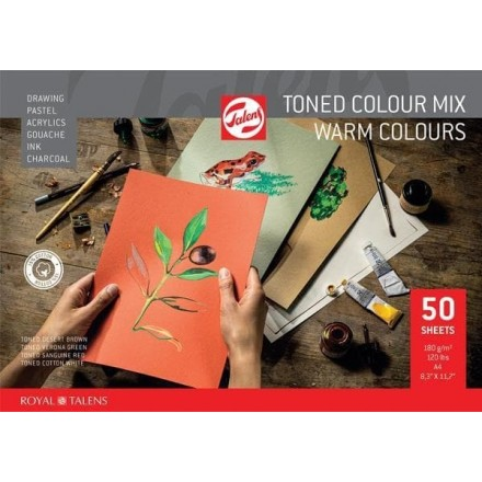 Talens μπλοκ mix θερμών χρωμάτων 50φυλ. Α4 180 γρ.