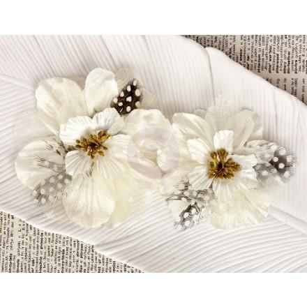 Σετ Υφασμάτινα Λουλούδια (Firebird White Fabric Flowers, 2τεμ)