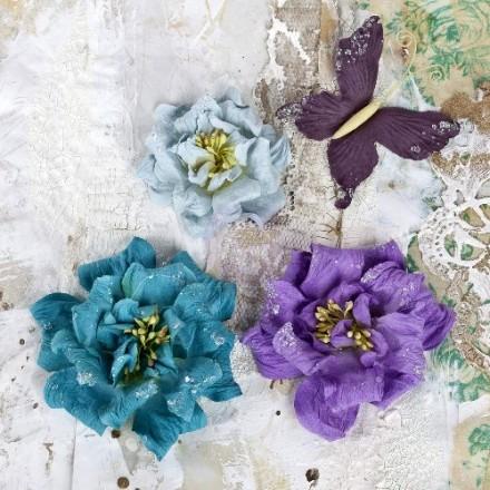 Σετ Διακοσμητικά Λουλούδια (Teal Paper Flowers & Butterfly Collection, 4τεμ)