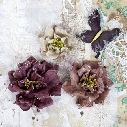 Σετ Διακοσμητικά Λουλούδια (Fossil Paper Flowers & Butterfly Collection, 4τεμ)