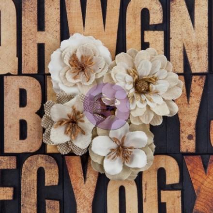 Σετ Υφασμάτινα Λουλούδια (Jute Fabric Flowers, Joyous, 4τεμ)