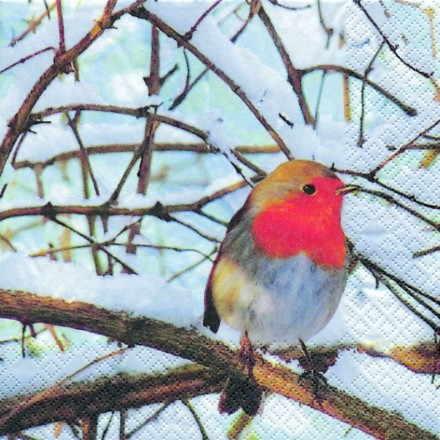 Χαρτοπετσέτα για Decoupage, Robin in a winter Tree / 611123