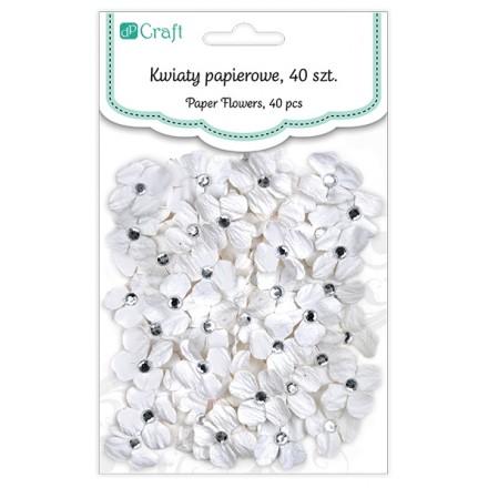 Χειροποίητα Χάρτινα Λουλούδια με κρυσταλλάκια (ø2cm, 40τεμ, White)