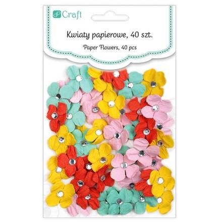 Χειροποίητα Χάρτινα Λουλούδια με κρυσταλλάκια (ø2cm, 40τεμ, Little me)