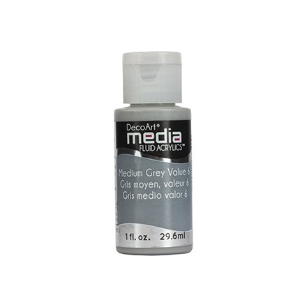 DecoArt Media Fluid Acrylics - Medium Grey Value 6
